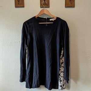 LOFT blue & white flutter back sweater
